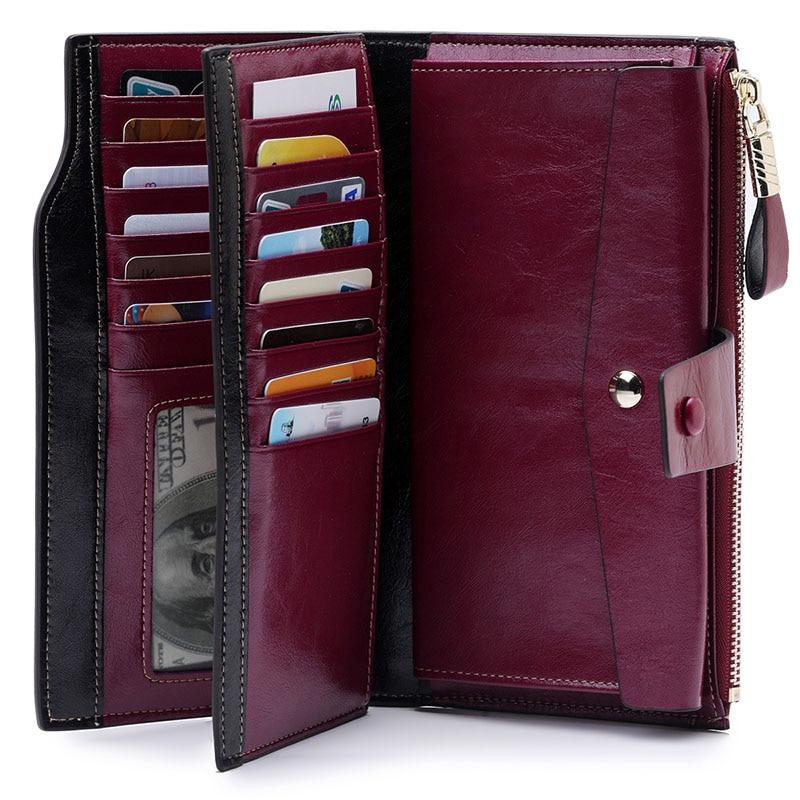 High Quality Oil Wax Leather RFID Wallet Women Hasp Zipper Walets Genuine Leather Female Purse Long Womens Wallets Ladies Clutch