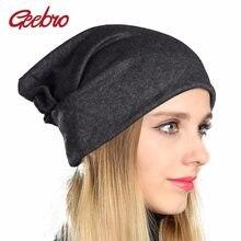 Geebro Mulheres Plain Cor Beanie Chapéus de Inverno Quente Ocasional  Algodão Óssea malha Chapéu para As d556ee77ec1