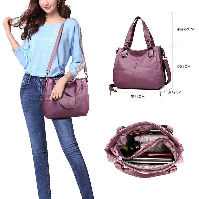 Patchwork Shoulder CrossBody Bags Women's PU Leather Tote Bag Women's Shoulder Bags