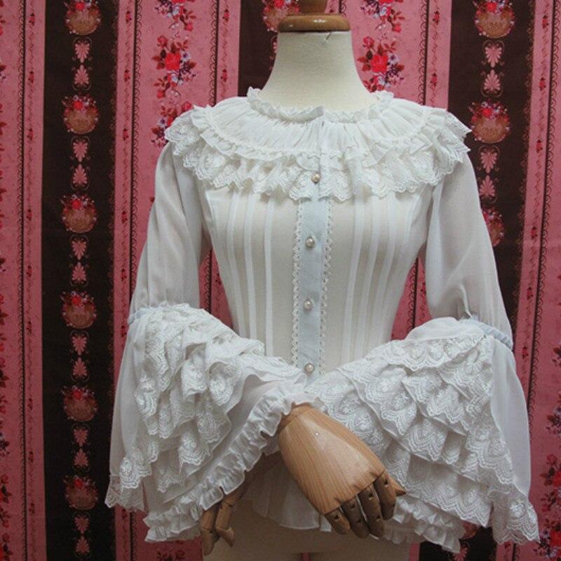 Chemisier en dentelle Lolita à manches longues Style rétro chemise blanche en mousseline de soie de grande taille avec volants en dentelle - 3