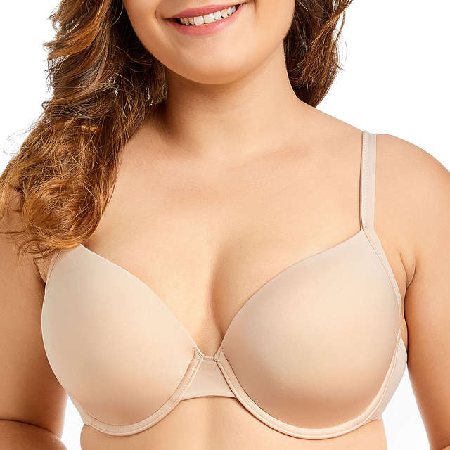 1cc66bd22e8 Detail Feedback Questions about Women s Smooth Full Coverage Underwire  Padded Essential Plus Size T Shirt Bra on Aliexpress.com