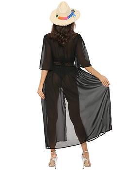 3 Color Sexy Bikini Cover Up Women Beach Dress 2019 Swimwear Chiffon Plus Size Bathing Suit Maxi Dress Bandage Kimono Cardigan 8