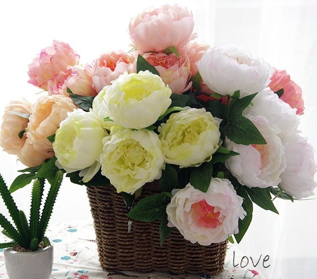 5 heads peony bouquet artifical flowers wedding decoration floral ...