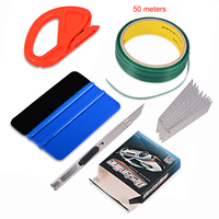 EHDIS 50M Car Stickers Knifeless Tape Design Line+Vinyl Wrap Car Film Squeegee Knife Tool Set for Auto Car Styling Accessories