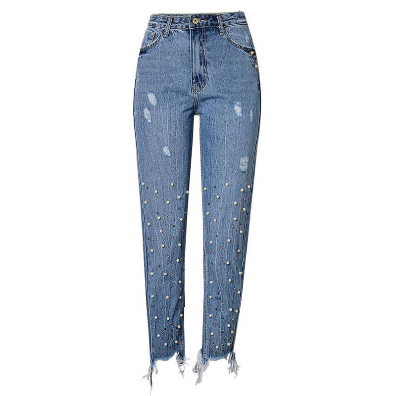 moruancle 2017 new womens ripped wide leg jeans pants distressed flare denim trousers with holes high waist boot cut size s xxl MORUANCLE New Fashion Women's Ripped Jeans Pants With Pearls High Waisted Distressed Denim Joggers For Woman Washed Slim Fit