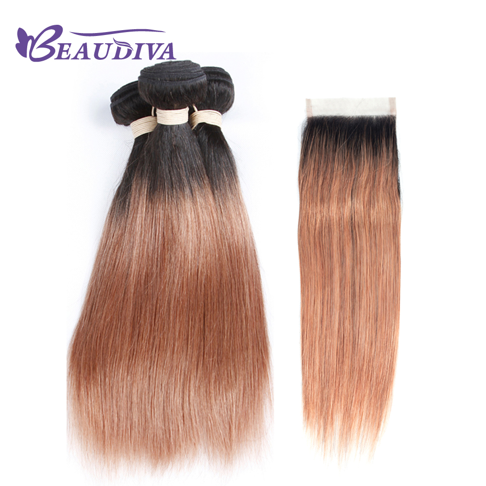 BEAUDIVA Pre Colored 100% Human Hair Bundles With lace closure 4*4 TB/30 Ombre color brazilian hair-in 3/4 Bundles with Closure from Hair Extensions & Wigs    1
