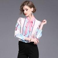High End 100 Satin Silk Blouse Shirt Women 2017 Summer Tops Fashion Print Bow Long Sleeve