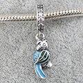 Tropical Parrot Pendant Charm 925 Sterling Silver Bird European Beads Fit Pandora Charms Bracelets &Necklace SP00118