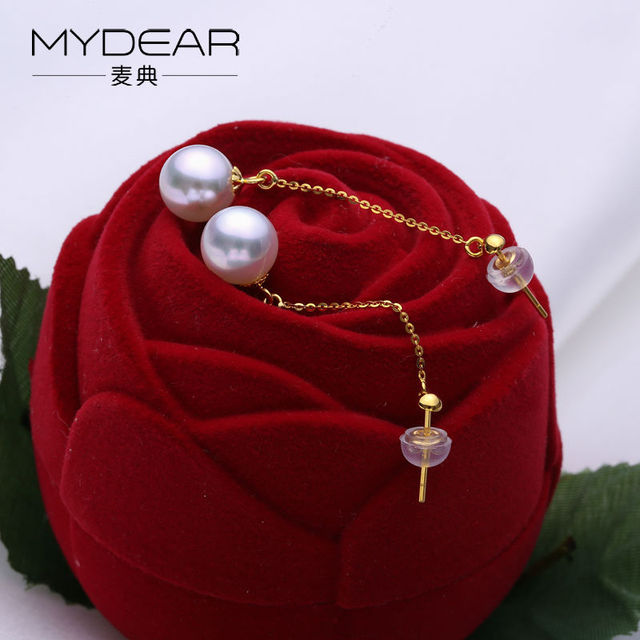 Fine Pearl Jewelry Real Gold Drop Earrings For Women Luxury Natural 9-9.5mm Akoya Pearls Earrings,High Quality Pearls