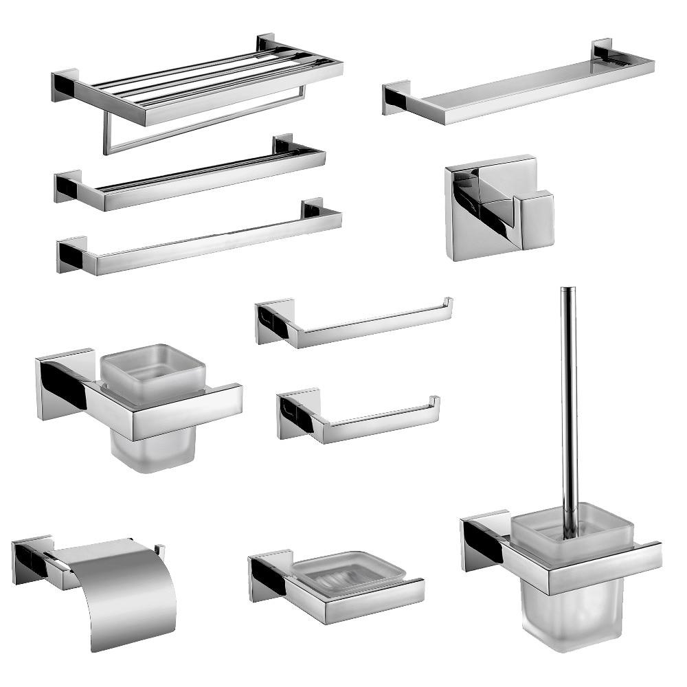 Stainless bathroom accessories - Sus 304 Stainless Steel Bathroom Hardware Set Chrome Polished Toothbrush Holder Paper Holder Towel Bar Bathroom