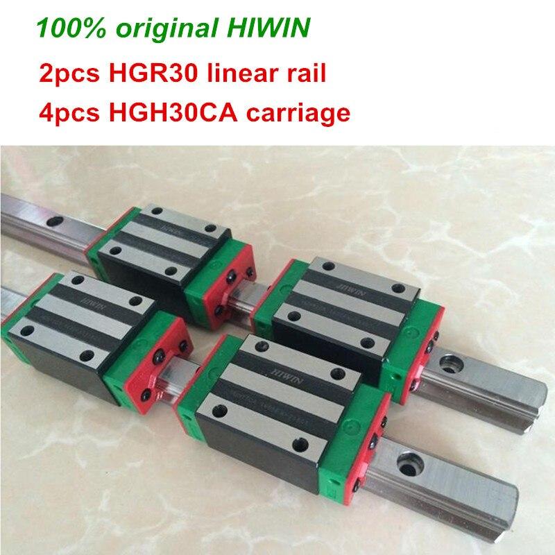100% d'origine HIWIN 2 pièces HGR30 200mm 300mm 400mm 500mm 600mm 700mm 800mm 1000mm rail de Guidage Linéaire + 4 pièces HGH30CA HIWIN Transport