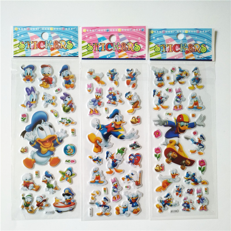 6 sheets Children Cartoon Donald Duck Yellow duck Bubble Stickers Toy Cute Baby 3d sticker for laptop car skateboard 2016 new arrival cute car sticker baby in car sticker cartoon lovely decals for baby on board car decoration for volvo ford etc