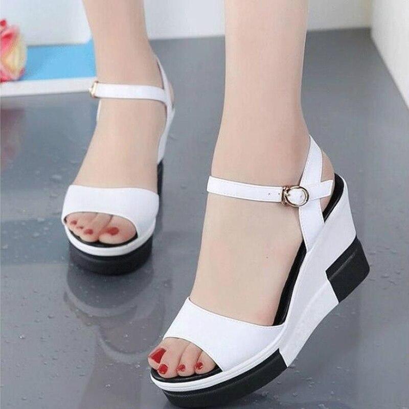 2020 NEW Women Platform Sandals Genuine Leather Flat Sandals Low Wedges Summer Female Sandalias Ladies Gladiator Sandals W3005