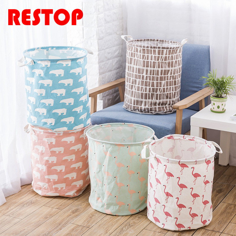 RESTOP Cotton Canvas Laundry Basket Canvas Washing Laundry Bag Hamper Storage Dirty Clothing Bags Toy Storage Bag RES1045
