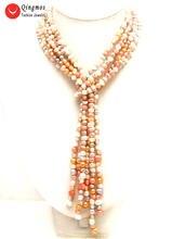 Ожерелье женское из натурального жемчуга 6 7 мм 3 нити 45 дюймов