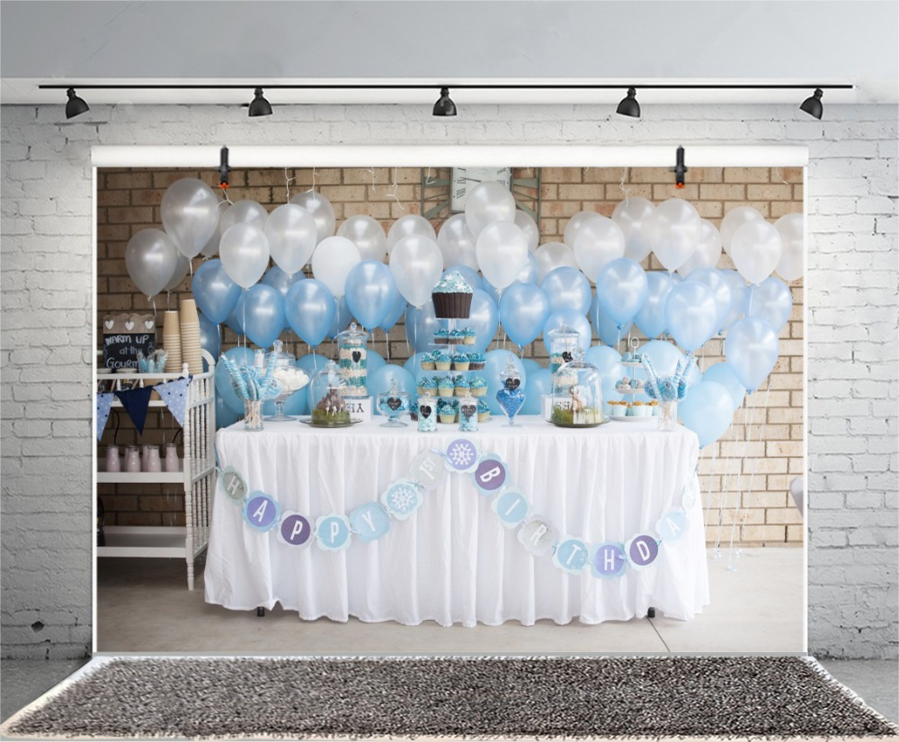 Laeacco Photography Backdrops Balloon Happy Baby Birthday Party Celebration Cake Table Dessert Background Photocall Photo Studio Consumer Electronics