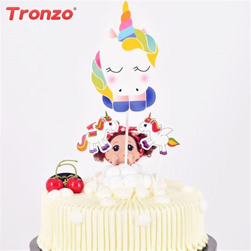 Tronzo 3 шт. Единорог торт Топпер DIY Бумага торт Декор с днем рождения украшение для детский праздничный костюм поставки Рождественский подарок...