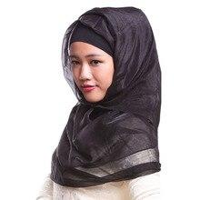 Arab Plain Hijabs Muslim Womens Silk Hijab Scarf