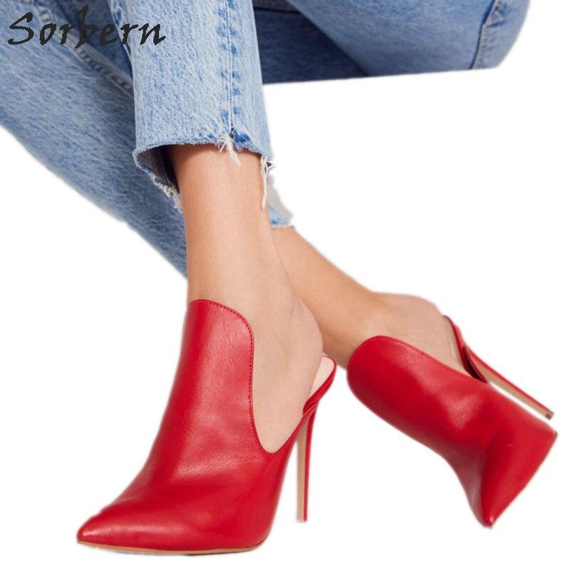 Sorbern punta puntiaguda Slip On mulas zapatos de tacón alto para mujer Zapatos de tacón alto Stilettos personalizado, tamaño, color 34 46 mujer Ol Zapatos negro/blanco tacones