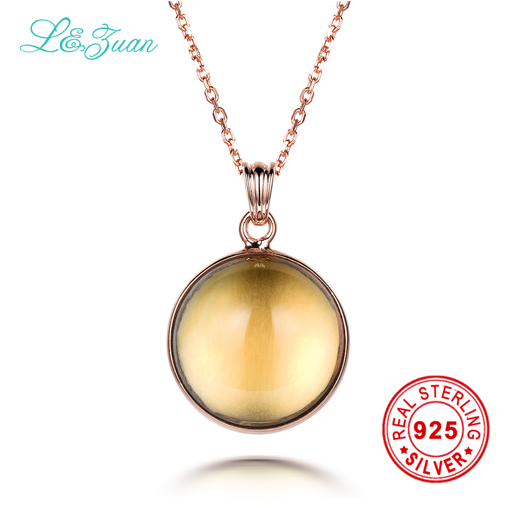 l&zuan 925 Sterling Silver Natural Citrine Yellow Stone Necklace & Pendant Sterling Silver Jewelry Choker Necklace For Women 925 sterling silver women lapis beads yellow chalcedony peacock pendant necklace rope chain thai silver choker jewelry ch057272