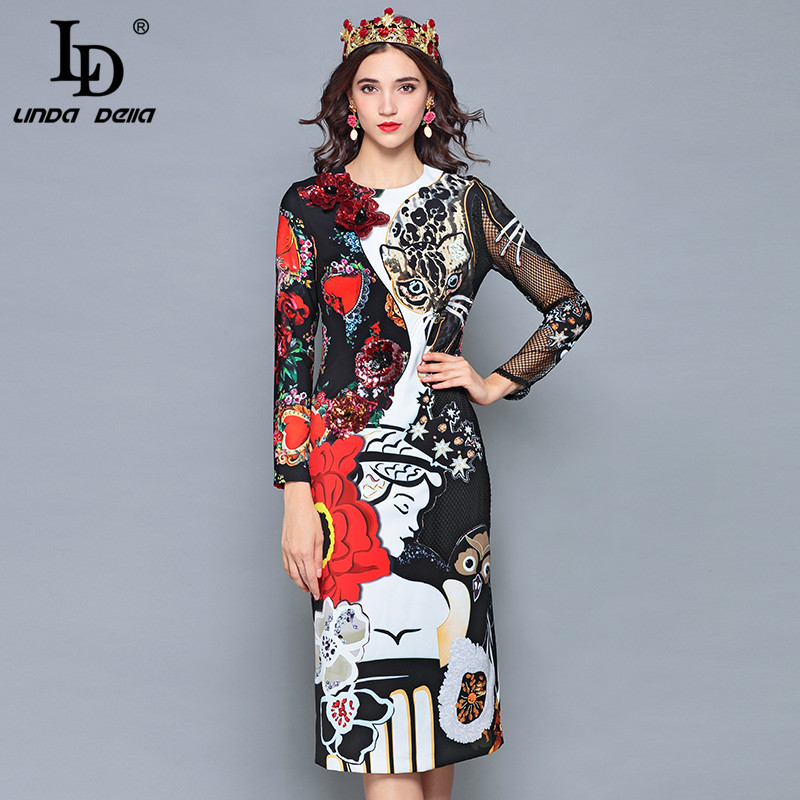 LD LINDA DELLA 2018 Runway Designer Autumn Dress Women's Long Sleeve Sexy Cat Flower Appliques Print Slim Midi Vintage Dress