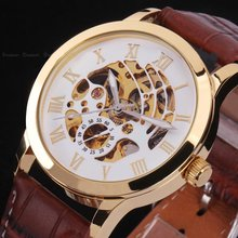 Casual Men Skeleton Wrist Watch Automatic Mechanical Stainless Steel Sport