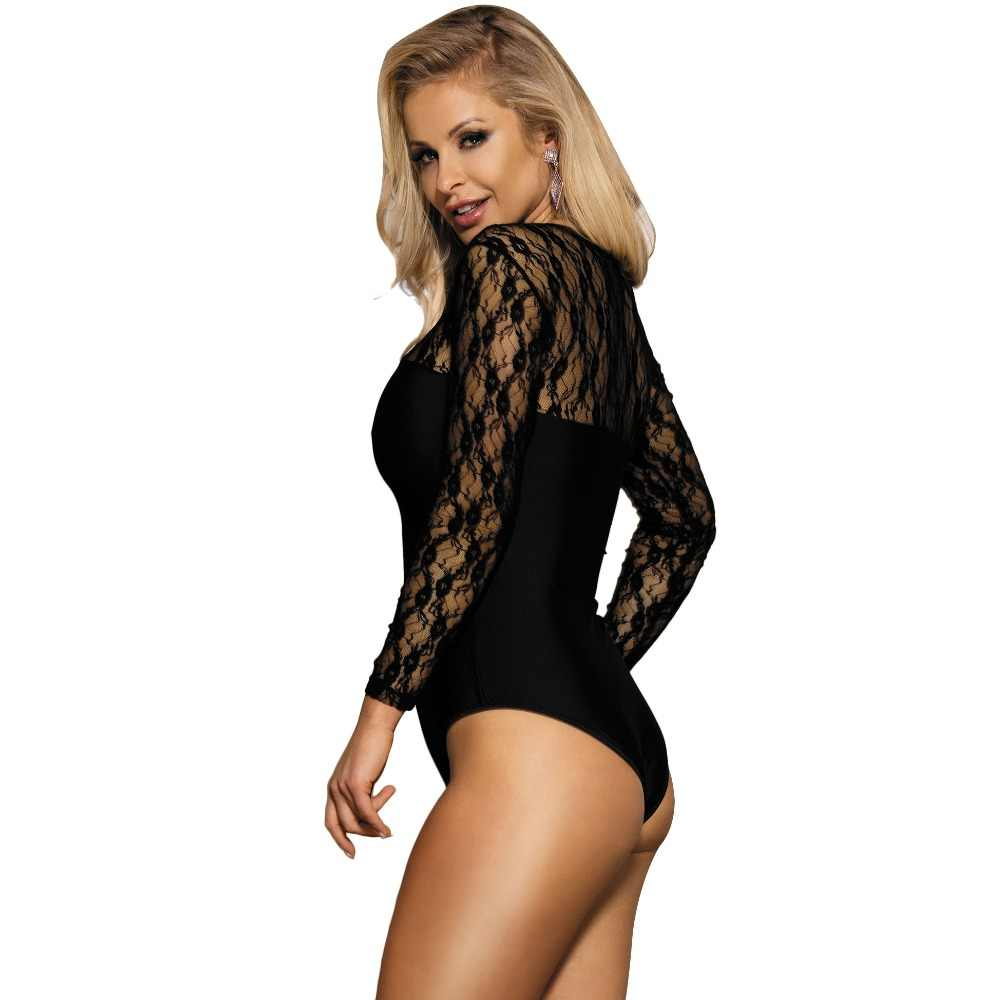 f42ee85e85 ... Romper Women Long Sleeve Bodysuit Black Lace Bodys Mujer Fashion Casual  O Neck Plus Size Transparent ...