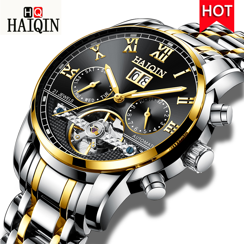 HAIQIN Automatic Mechanical Mens watches Top Brand luxury Men Watch Business Tourbillon Men Wrist watch Clock