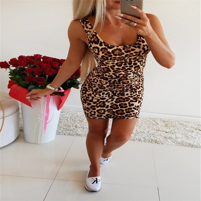 61d4da464d5f Aphrodite Home Women Dress Sexy Nightclub Square Collar Waist Leopard Print  Package Hip Female Mini Party