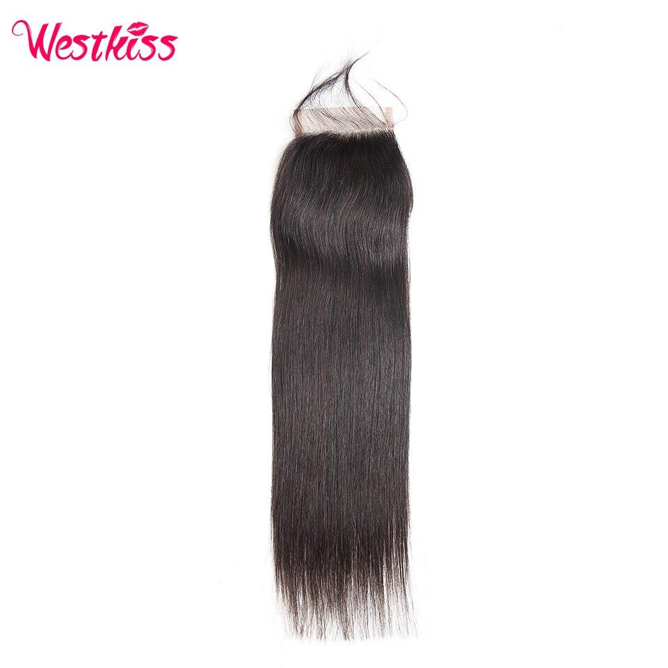 Where to buy hair closures - West Kiss 100 Human Hair Lace Closure 4x4 Free Part Peruvian Straight Hair Closure 130