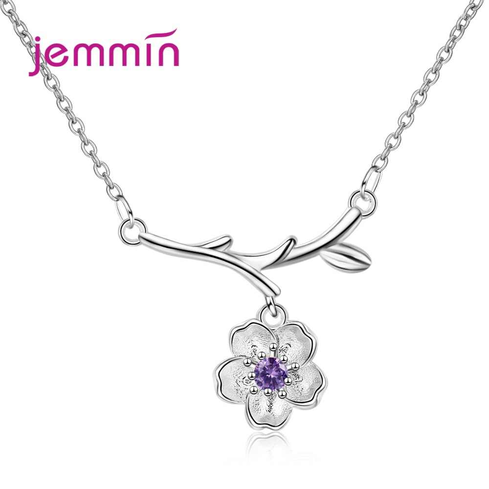 New 925 Sterling Silver Simple Flower Pendant Necklace For Women Ladies Fashion Jewelry  Best Seller Purple And Pink