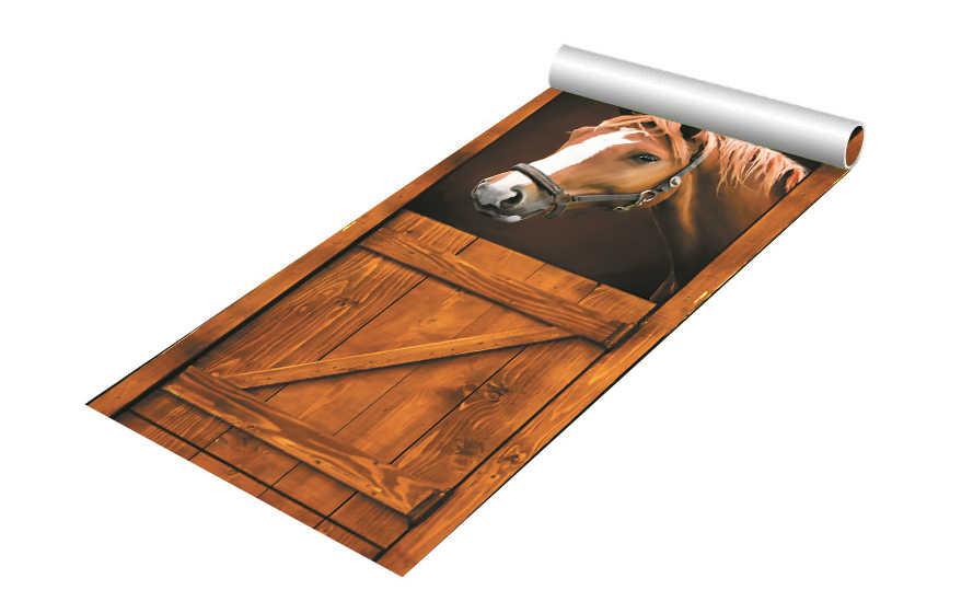 DIY 3D الجدار ملصق جدارية ديكور المنزل الحصان القديم كشك الحظيرة الغربية للإزالة الباب ملصقا decole 77*200 سنتيمتر