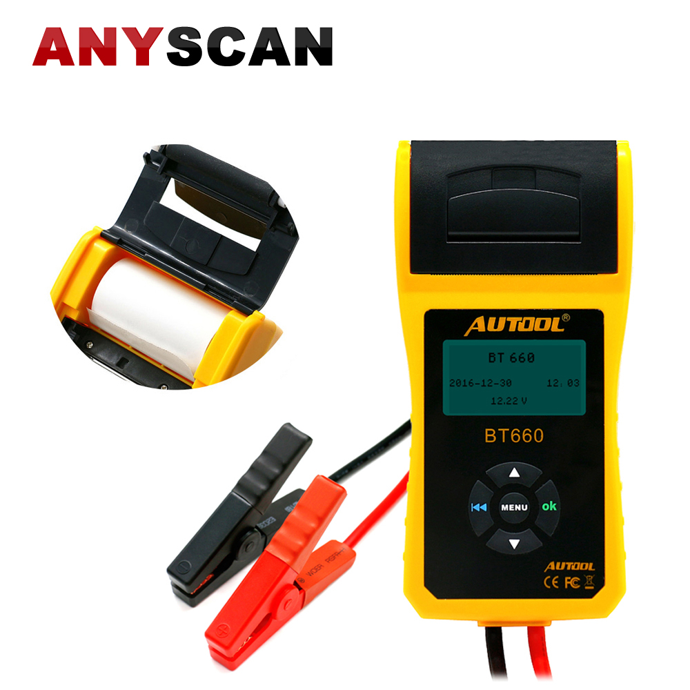 AUTOOL BT-660 Car Battery Tester with Built-in Printer BT660 Battery Analyzer for Flooded, AGM, GEL, EFB Detect Bad Battery Cell hot sale free shipping super foxwell bt 705 battery analyzer foxwell bt705 car battery tester fast express shipping