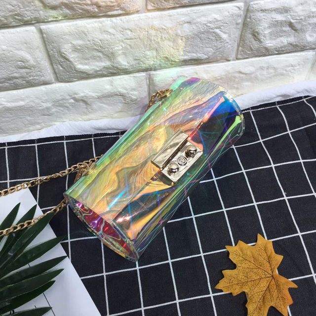 Fashion Funny Women Handbag Wallet Designer Transparent Laser Messenger  Flap Barrel Purse Party Pouch Case Female