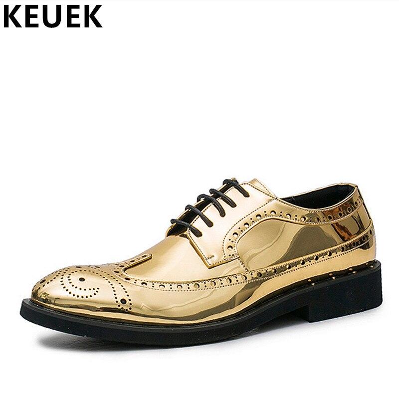 Britischen Stil Männer Brogue Schuhe Lace-up Beiläufige Lederne Schuhe Große Größe Männlichen Wohnungen Jugend Beliebte Schuhe Oxfords Wedding Schuhe 033