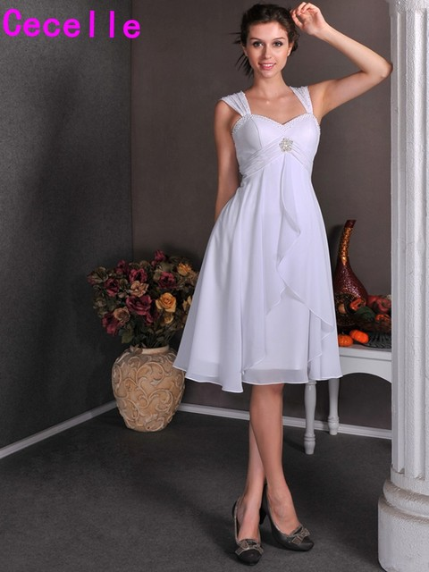 Short Cap Sleeves Summer Chiffon Wedding Dresses With Sleeves Knee ...