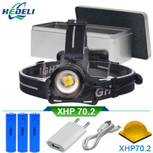 50000 lumens XLamp XHP70.2 high power led head torch led headlamp XHP70 head lamp usb 18650 rechargeable battery headlight XHP50(China)