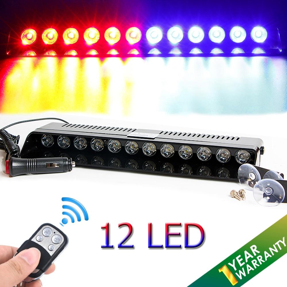 Castaleca Car Flashing Strobe 12 LED Windshield Warning Light Wireless control Light bar Truck Emergency Beacons Signal lamp