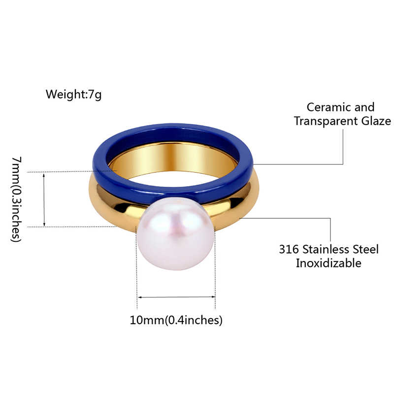 Fashion Elegant Big Simulated Pearl Gold Ring With Blue Ceramic Ring 2pcs/Set For Women Trendy Jewelry Wedding Party Best Gifts