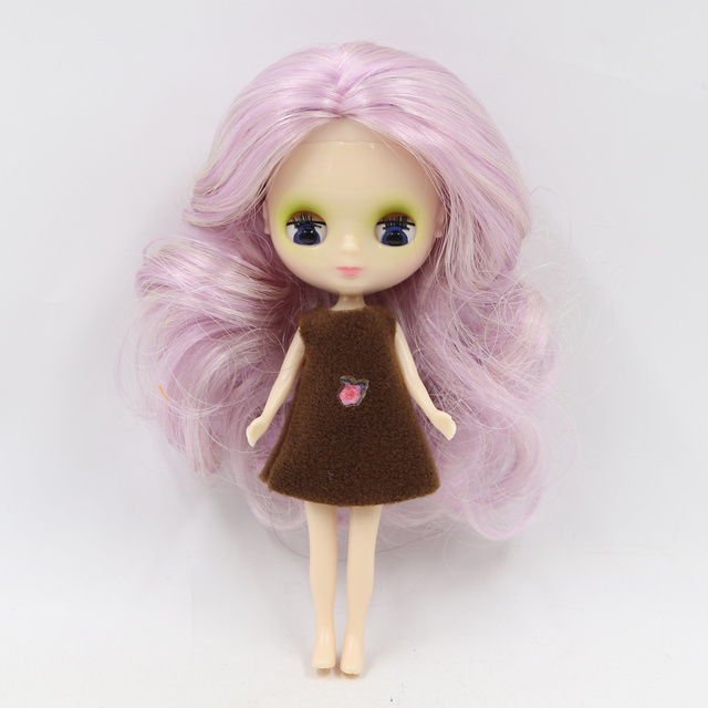 Factory mini blyth doll 10CM colorful hair color with random dress with bangs or no bangs normal body DIY fashion toys
