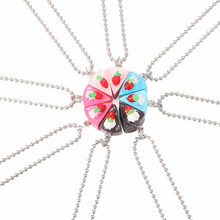 BFF Necklace Multicolor Round Happy Birthday Candy Strawberry Cake Best Friends Resin Pendant Necklaces Friendship BFF Jewelry(China)