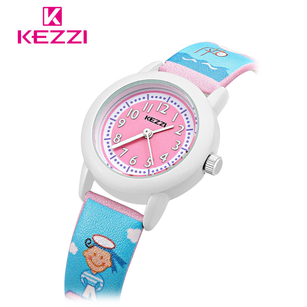 2016 new cartoon children brand watch fashion girl kids student cute leather sports hours clock for Watches brands for girl