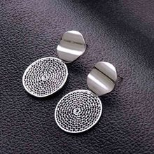 New Korean Style Hollow Round Earrings for Women Silver Gold Paillette Charm Earring Double Layers Earings Jewelry
