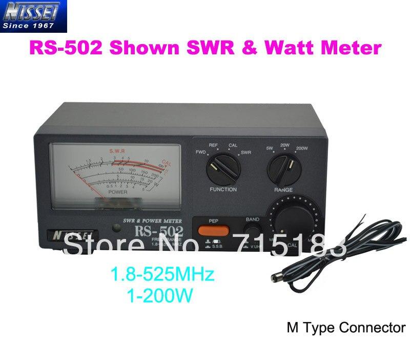 New Original NISSEI RS-502 Montré 1.8-525 MHz 200 W SWR & Watt Metter (M Type Connecteur)