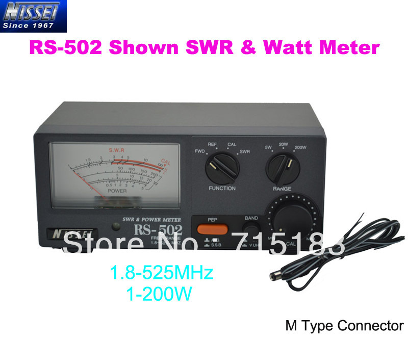 New Original NISSEI RS-502 Shown 1.8-525MHz 200W SWR & Watt Metter (M Type Connector)