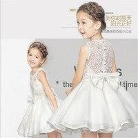 3-16Y Dzieci Suknie Nowy 2017 Lato Hurtownie Dziewczyna Lace Big Bow Wedding Party Princess Dress for Girls Wieczorowe Odzież GDR214
