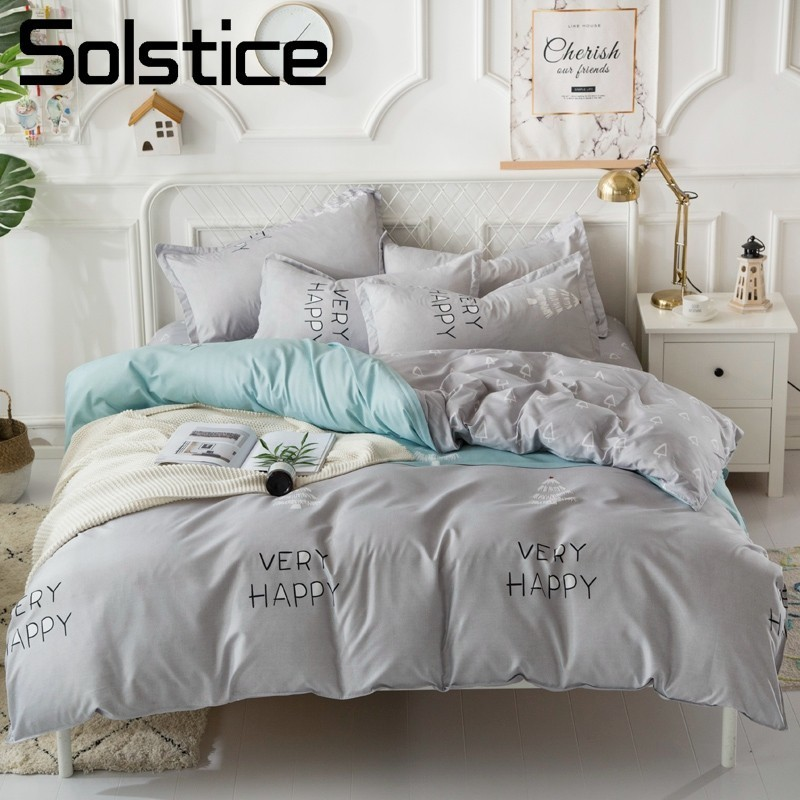 Solstice Home Textile Gray Nordic Style Bedding Set Child Adult Boy Girl Bed Linen Duvet Cover Pillowcase Flat Sheets Bedclothes