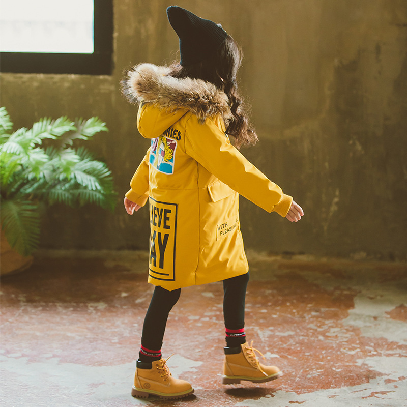 Girls Parkas 2018 New Fashion Toddler Girls Down Jackets Natural Fur Collar Coat Cotton-padded Outwear 8 Harem Winterjas Meisjes цена