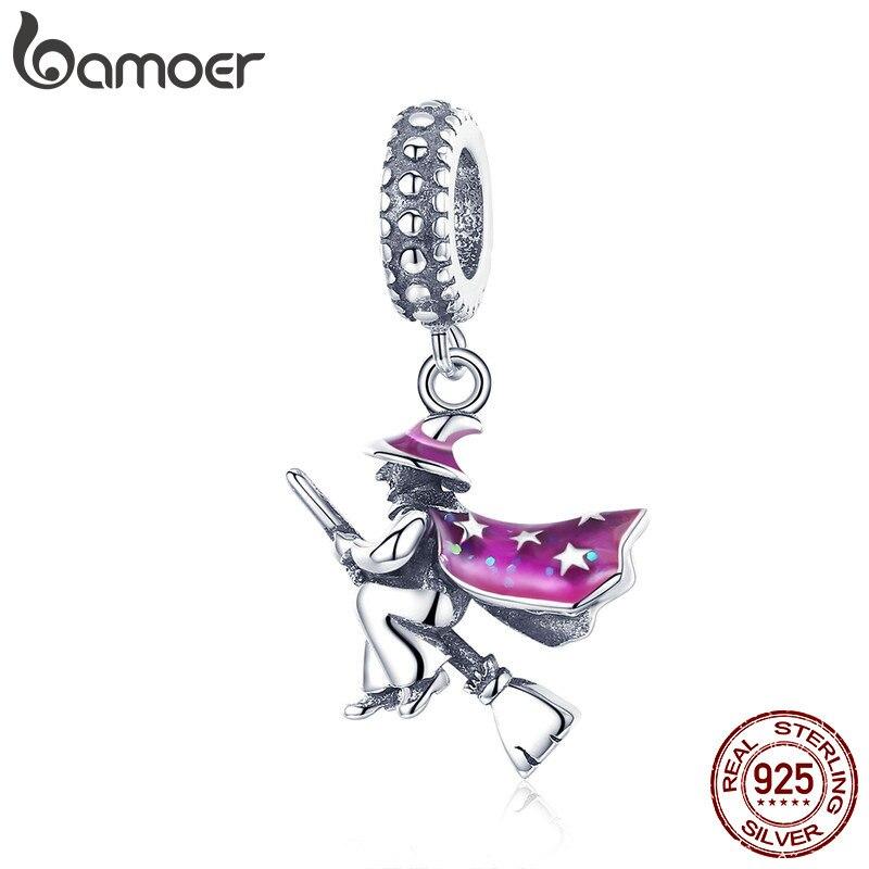 BAMOER auténtico 100% de Plata de Ley 925 magia bruja colgante encantos para mujeres pulseras de la joyería de DIY regalo de Halloween SCC914