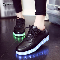 7 ipupas Kids Classic Zwart Gloeiende schoenen jongens meisjes kant-up radiative Lichtgevende In nacht sneakers unisex liefhebbers Led lichten schoenen